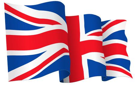 Illustration pour UK British flag waving - vector illustration isolated on white - image libre de droit