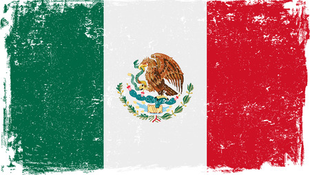 Illustration for Mexico vector grunge flag isolated on white background. - Royalty Free Image