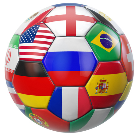 Photo pour Russia football with participating national teams flags in world tournamemt. Clipping path included for easy selection. - image libre de droit