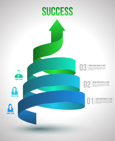 Ilustración de Arrow twist up to success number options with icons  Vector illustration and can use for business concept, report, data presentation, plan or education diagram  printing and website template  - Imagen libre de derechos