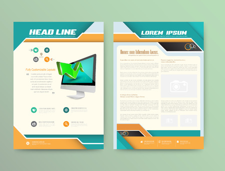 Illustration pour Abstract Vector Brochure Template. Flyer Layout. Flat Style. Infographic Elements. - image libre de droit