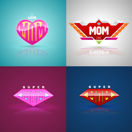 Ilustración de Funny super mom logo set. vector illustration. Can use for mother day greeting card. - Imagen libre de derechos