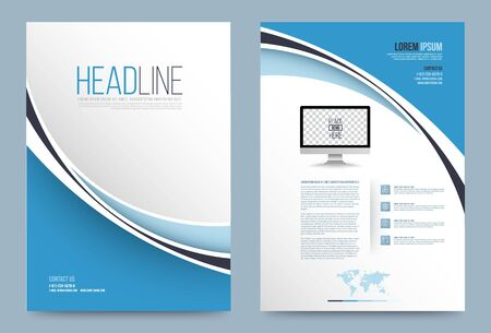 Illustration pour Vector cover design template simply and elegant style, Can use for flyer, brochure, annual report, magazine, book, poster, printing press and web presentation. Vector illustration. Front and back layout A4 size. - image libre de droit