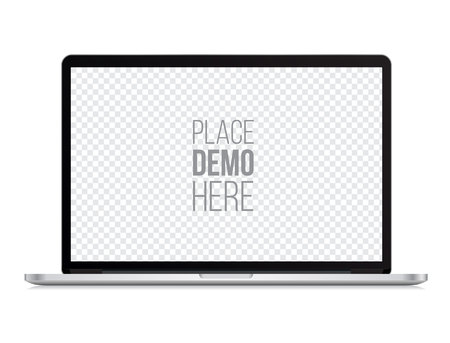 Illustration pour laptop front mockup isolated on the white background. Vector illustration. - image libre de droit