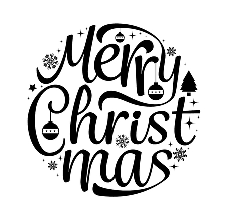 Illustration pour Merry Christmas text free hand design isolated on white background. Vector illustration. - image libre de droit