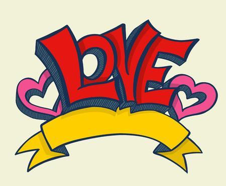 Illustrazione per Love with hearts drawn for love concept wedding and valentine. Vector illustration. - Immagini Royalty Free