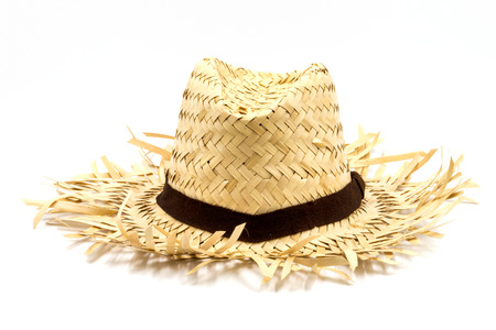 Foto de Straw hat isolated on a white background - Imagen libre de derechos