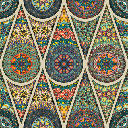 Illustration for Colorful vintage seamless pattern with floral and mandala elements. Hand drawn background. Can be used for fabric, wallpaper, tile, wrapping, covers and carpet. Islam, Arabic, Indian, ottoman motifs. - Royalty Free Image