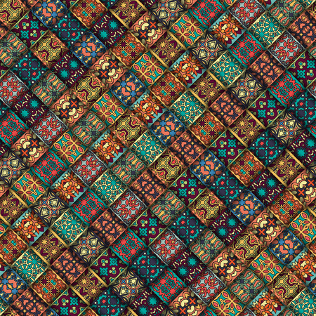 Ilustración de Colorful vintage seamless pattern with floral and mandala elements. Hand drawn background. Can be used for fabric, wallpaper, tile, wrapping, covers and carpet. Islam, Arabic, Indian, ottoman motifs. - Imagen libre de derechos