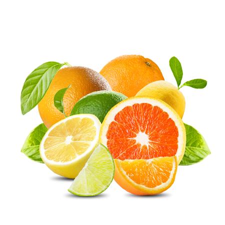 Photo pour Various Citrus Fruits On White Background - image libre de droit