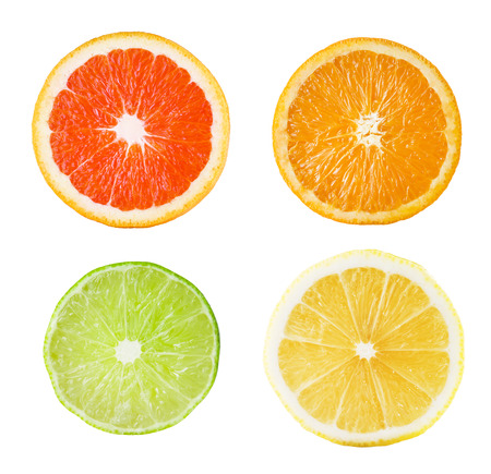 Photo pour Fresh Slice of Citrus Fruits On White Background - image libre de droit