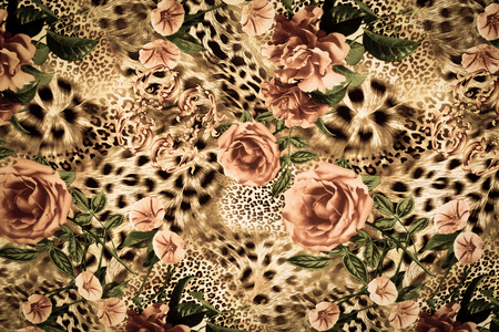 Foto de texture of print fabric striped leopard and flower for background - Imagen libre de derechos