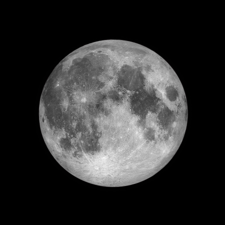 Foto de Close up of Full moon, lunar on dark night sky, black space, black background - Imagen libre de derechos
