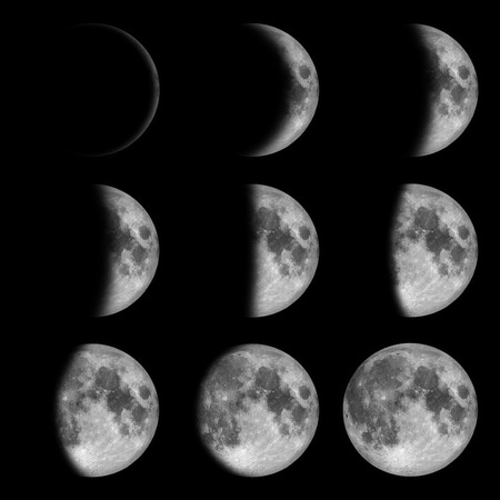 9 phases of the moon, lunar on dark night sky, black space, black from new to full
