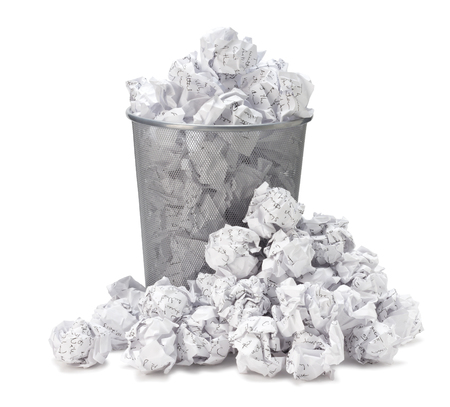 Photo for No idea - Crumpled paper can recycle was thrown to metal basket bin. Overflowing waste paper in office garbage bin. Junk, wastepaper in rubbish isolated on white background with clip path - Royalty Free Image
