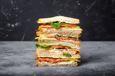 Photo for Close up of tall cut tasty sandwich - Royalty Free Image
