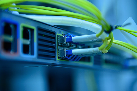 Foto de network optical fiber cables and hub - Imagen libre de derechos