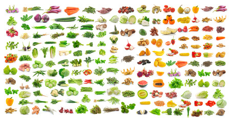 Photo for set of vegetable and fruit on white background - Royalty Free Image