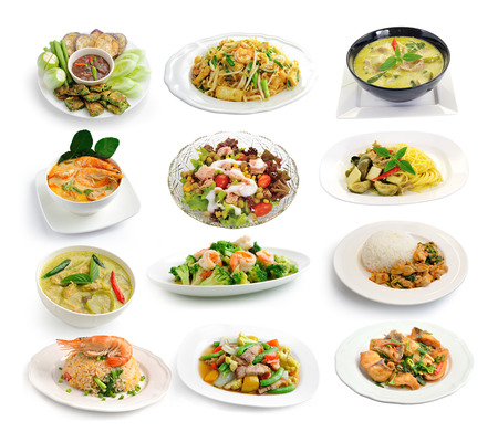 Foto de set of thai food on white background - Imagen libre de derechos
