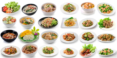 Foto de set of thai foods on white background - Imagen libre de derechos