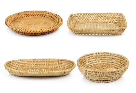 Foto de vintage weave wicker basket isolated on white background - Imagen libre de derechos