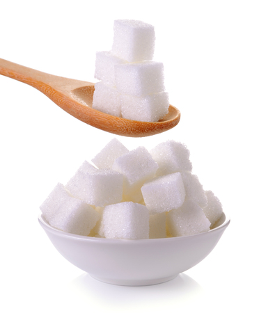 Photo for sugar cube in the spoon and bowl on white background - Royalty Free Image