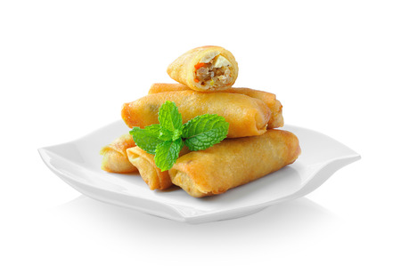 Photo pour Fried Chinese Traditional Spring rolls food in ceramic plate (beautiful shape) on white background - image libre de droit