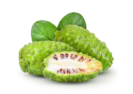Photo for Noni with leaf on white background - Royalty Free Image