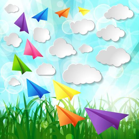 Illustration pour Set of flying color paper planes with white paper clouds on green spring nature lawn landscape background - image libre de droit