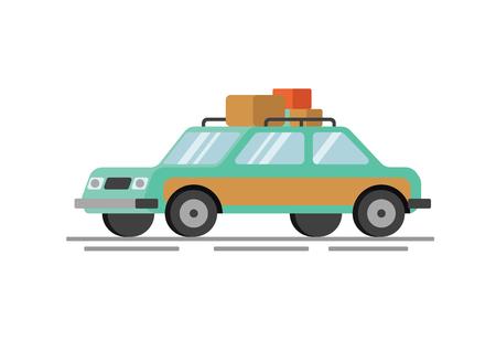 Ilustración de Family car on vacation flat vector illustration - Imagen libre de derechos