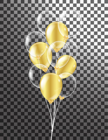Illustration pour Gold transparent balloon on background balloons, vector illustration. Confetti and ribbons, celebration background template. - image libre de droit