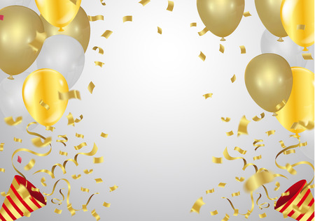 Illustration pour balloons and confetti on gray background, Vector illustration. - image libre de droit