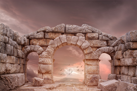 Photo pour Fantasy Medieval temple and great Sky - image libre de droit