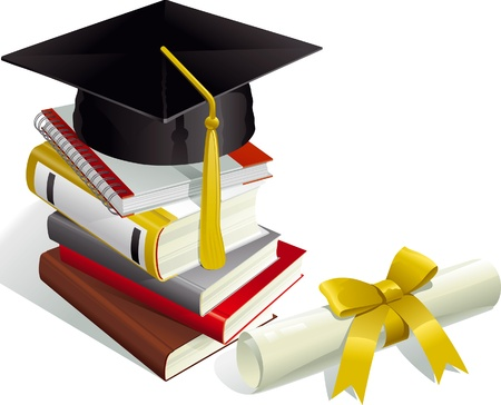 Education. Mortar Boards, books and Diploma.