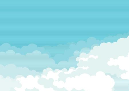 Ilustración de Cloudscape horizontal background of blue sky with clouds  - Imagen libre de derechos