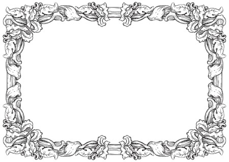Illustration pour Vintage frame. Vector retro  background with ornate border at engraving style. - image libre de droit