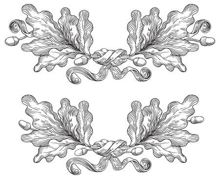 Illustration pour Vintage Oak wreaths. Vector Decorative Elements - image libre de droit