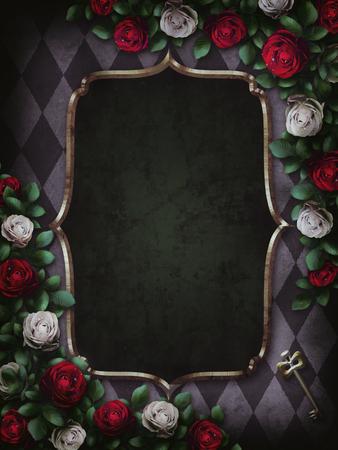 Foto de Alice in Wonderland. Red roses and white roses on chess background. Wonderland background. Rose flower frame. Gold frame. Illustration. - Imagen libre de derechos