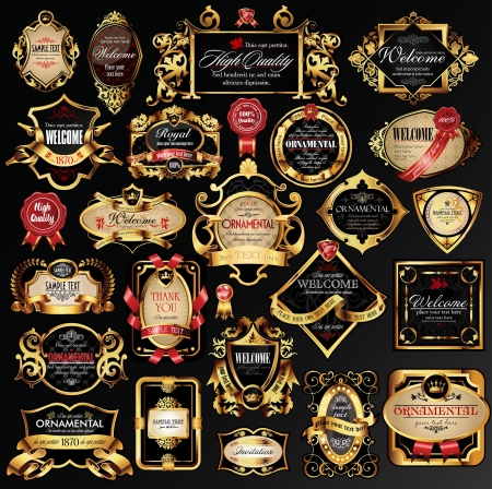 Illustration for set of labels with gold elements. - Royalty Free Image