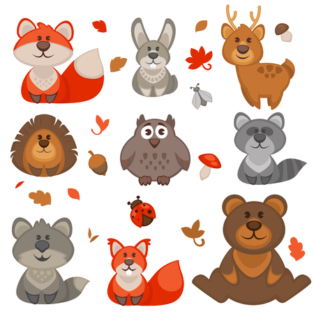Set of cute cartoon forest animals. Vector Illustration.