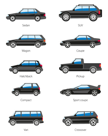 Illustration for Vector set of car bodies in black color. Different car types icons: sedan, suv, wagon, coupe, hatchback, pickup, compact, sport coupe, van, crossover. Flat style. Isolated on white. - Royalty Free Image