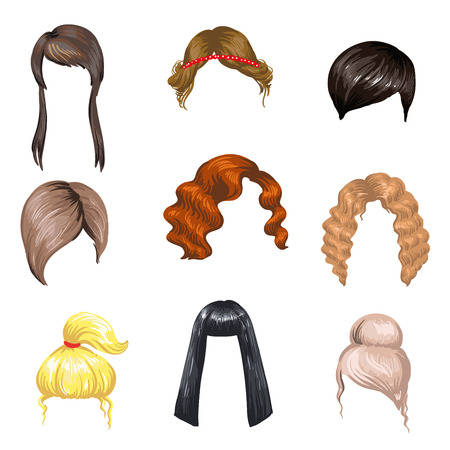 Ilustración de Set of fashion female hair styles. Colored hair: brunette, blond and ginger. Different beautiful haircuts for girls. Woman hairstyles: long and short, curly and haircut. Vector illustration on white - Imagen libre de derechos