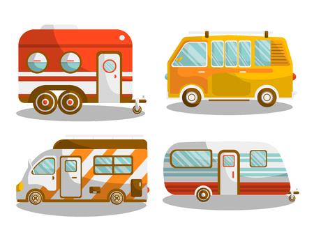 Illustration pour Camping bus or camper van vector illustration - image libre de droit