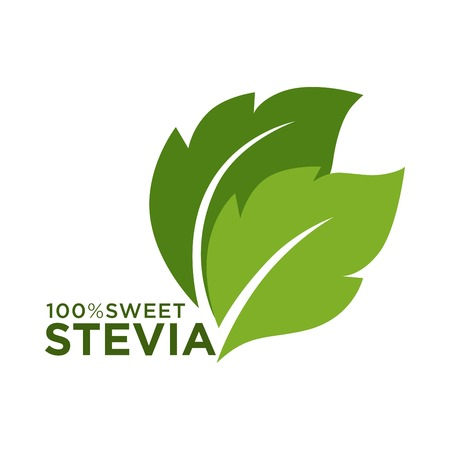 Illustration for Green symbol of stevia or sweet grass 100 percent logo - Royalty Free Image