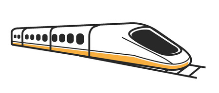 Illustration pour Japanese modern high-speed train with toned windows and first car of streamlined shape isolated vector illustration - image libre de droit