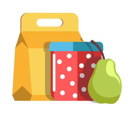 Ilustración de School lunch in cardboard box and jar with polka-dot pattern - Imagen libre de derechos