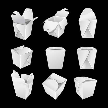 Illustration for White empty paper boxes for chinese fastfood set - Royalty Free Image
