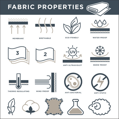 Illustration for Fabric properties signs monochrome isolated minimalistic illustrations set - Royalty Free Image