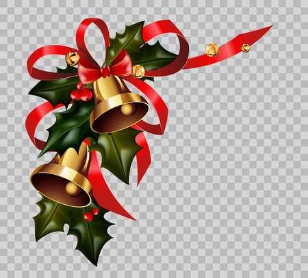 Ilustración de Christmas decoration holly wreath bow gold bells element vector isolated transparent background - Imagen libre de derechos