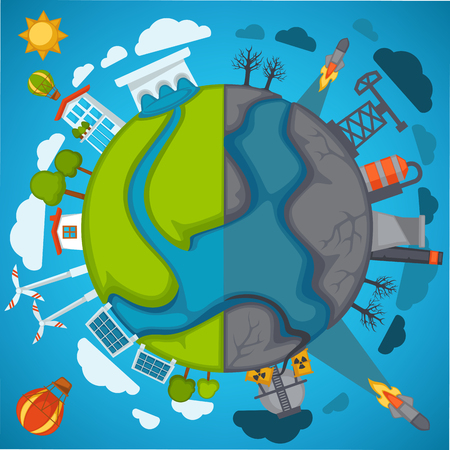 Illustrazione per Green eco planet and environment pollution vector poster for save nature protection concept - Immagini Royalty Free